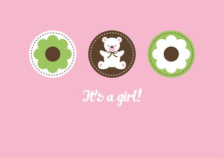 Baby Girl announcement card design. Vector illustration.