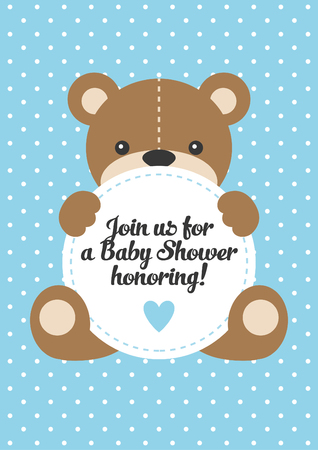 Baby Shower with cute bear toy. Vector illustration. Illustration