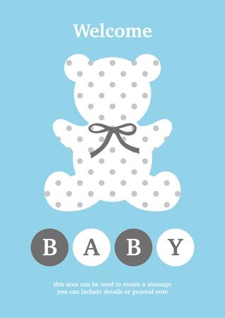 Baby Boy announcement card design. Vector illustration.