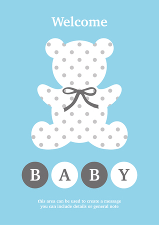 Baby Boy announcement card design. Vector illustration.
