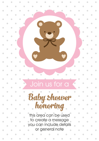 Baby Girl announcement card design. Vector illustration.