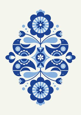 Birds card in Scandinavian style Vector Illustration.
