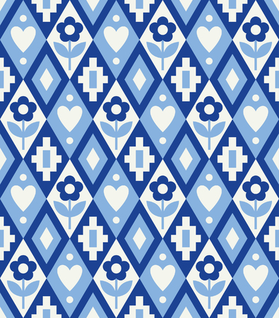Cute rhombus seamless pattern in danish style Vector Illustration.