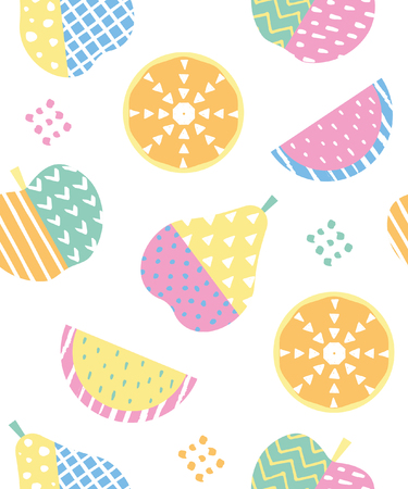 Fun seamless pattern with fruits. Vector illustration.