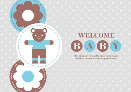 Baby Boy announcement card design. Baby bear. Vector illustration.