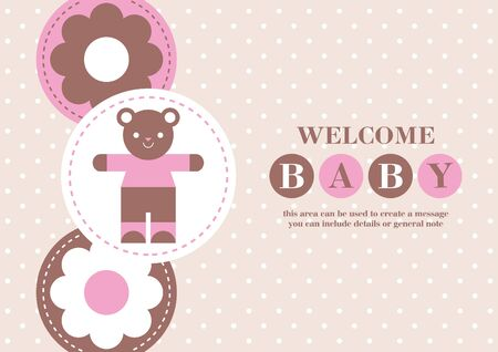 Baby Girl announcement card design. Baby bear. Vector illustration. Illustration