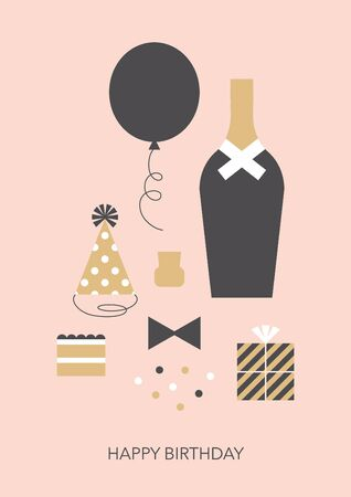 Retro styled happy birthday greeting card. Vector illustration.