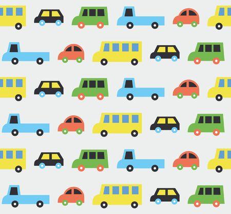 Cute childish cars seamless pattern design. Vectop illustration. Illustration