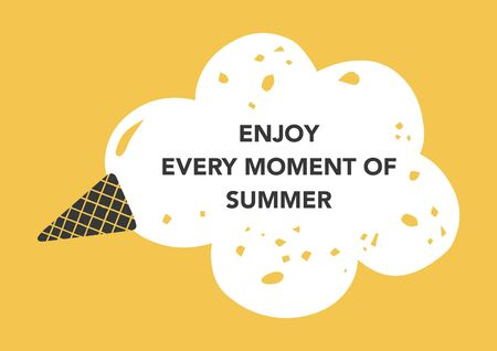 Fun summer quote card with fallen ice cream. Vintage style. Vector illustration.