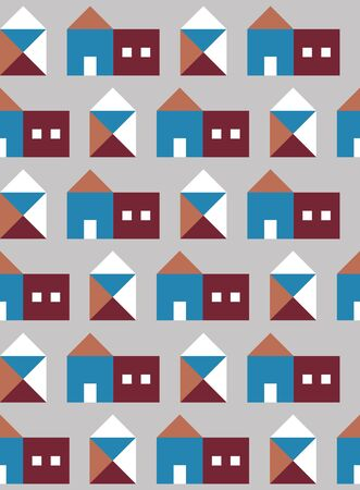 Seamless pattern with small geometric houses. Vector illustration. 向量圖像
