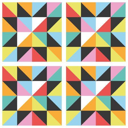 Patrón sin fisuras de estrella de patchwork. Ilustración vectorial.
