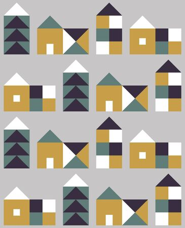 Seamless pattern with small geometric houses. Vector illustration.