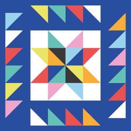 Diseño de elemento estrella de patchwork. Ilustración de vector.