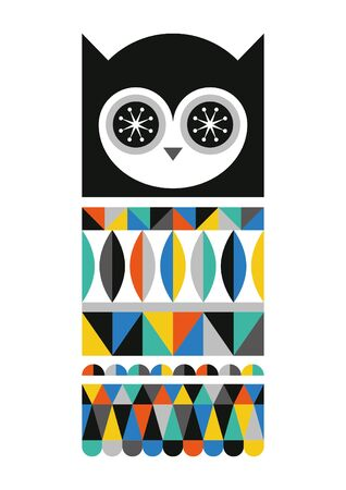 Abstract geometric owl. Scandinavian and folk design. Poster. Vector Illustration.