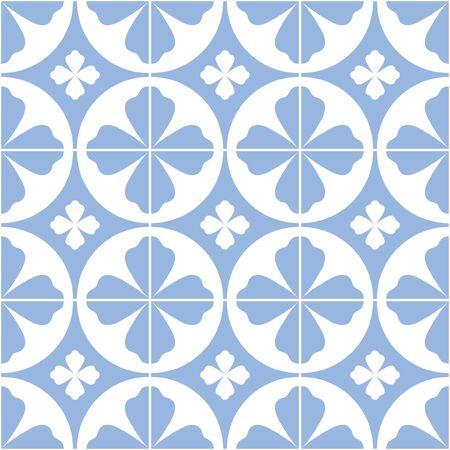 Floral tile pattern design. Mediterranean style. Vector illustration.