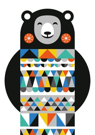 Abstract geometric bear. Scandinavian and folk design. Poster. Vector Illustration.