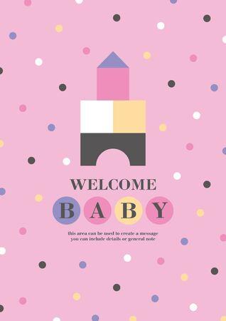 Baby shower card design. Cute woden kit castle. Vector illustration. Reklamní fotografie - 131209798