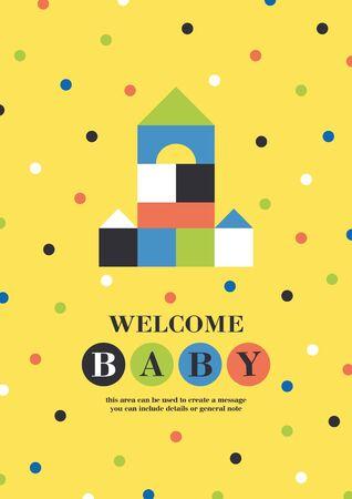 Baby shower card design. Cute woden kit castle. Vector illustration.