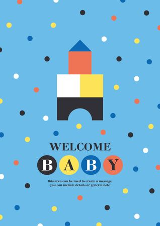 Baby shower card design. Cute woden kit castle. Vector illustration. Reklamní fotografie - 131194903