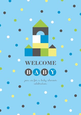 Baby shower card design. Cute woden kit castle. Vector illustration.