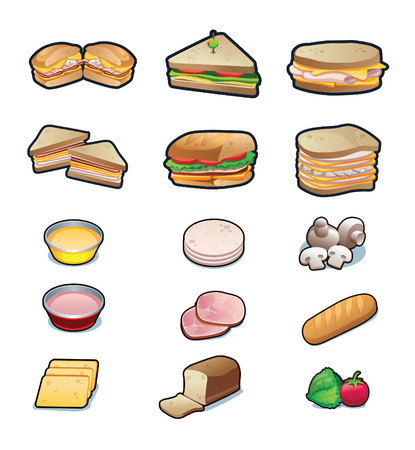 ham sandwich: Sandwiches and ingredients set