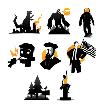 Illustration of various icons set of mosters and humans vector isolated Vector