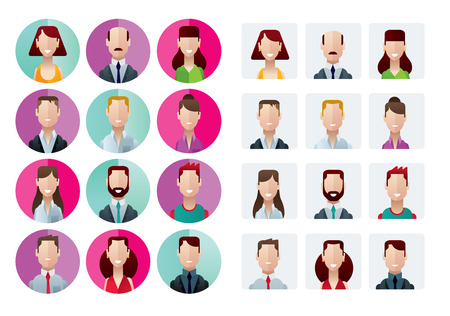 flat adn modern profile icons office people isolated vector illustration Vector