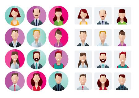 Platte adn modern profiel iconen kantoor mensen geïsoleerd vector illustratie Stockfoto - 31416476