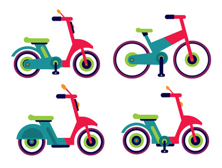 Illustration of motorcycle scooter set vector isolated