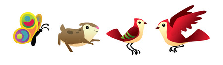 Illustration of birds and butterfly isolated hamster vector set