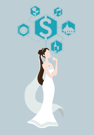 Illustration of bride wedding thinking acerca price vector Imagens - 31416479
