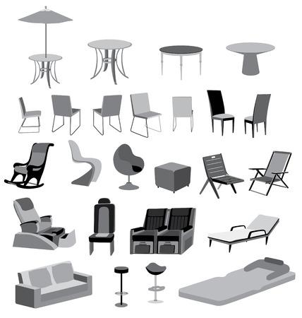Illustratie van meubels stoelen, tafels en objecten vector geïsoleerde