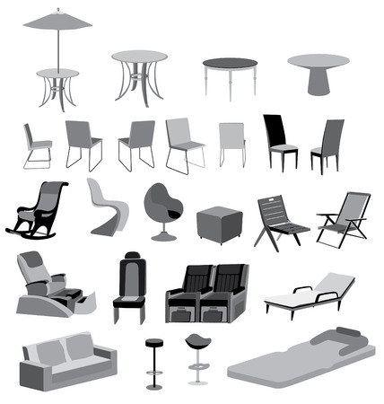 Illustration of furniture chairs, tables and objects vector isolated