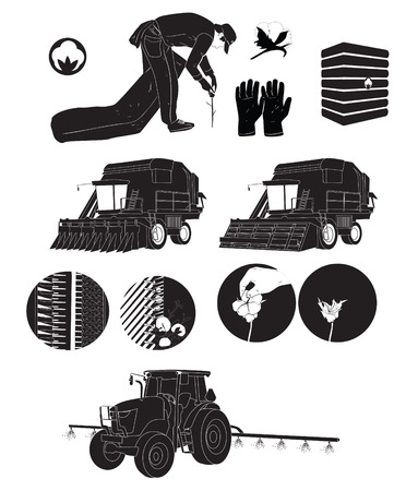 black silhouette icons cotton farmers and farm vector illustration process Imagens - 31416481