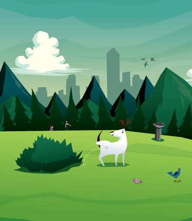 Illustration of dog at park vector Vector