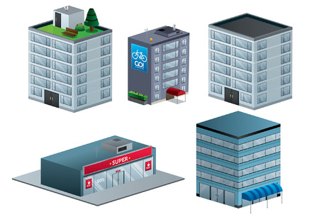 Buildings vector illustration isolated isometric September Vector
