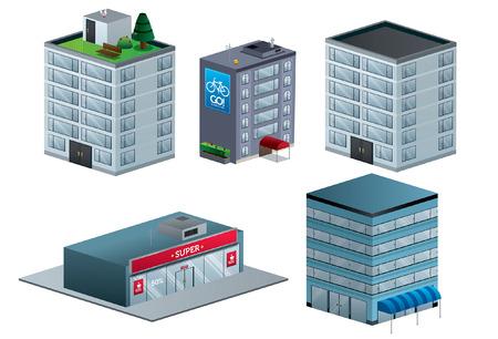 Buildings vector illustration isolated isometric September Ilustração