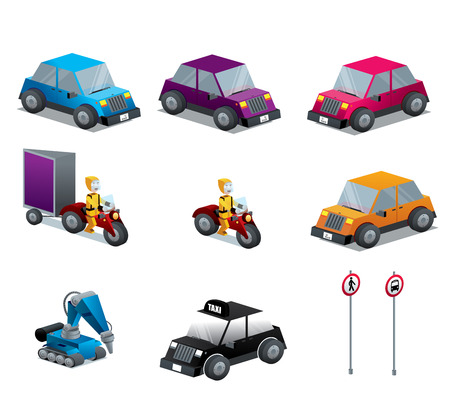 Cars Motorcycles and traffic signs set vector illustration isolated isometric