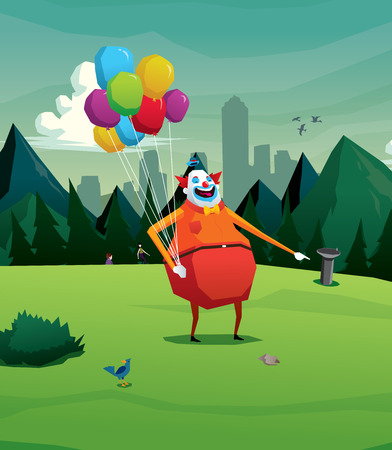 Clown in park laughing vector illustration