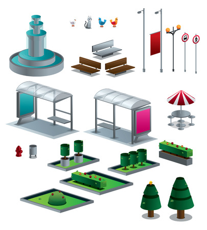 Objects of the city set vector illustration isolated isometric Vector