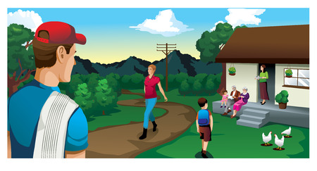 family house in the country and coffee outdoor field vector illustration