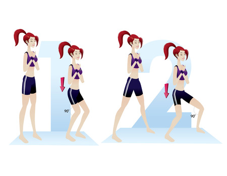 illustrations of beautiful woman isolated basic exercises vector