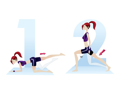illustration of beautiful woman doing exercises vector sequence numbers