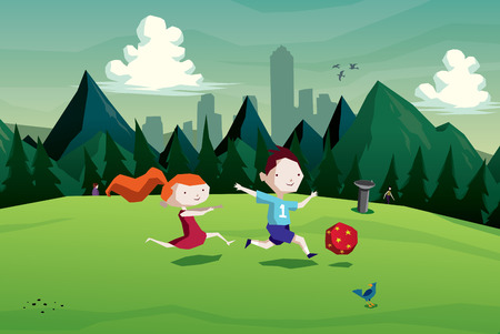 Illustration of kids (boy and girl) playing soccer with a ball in the park vector Vector