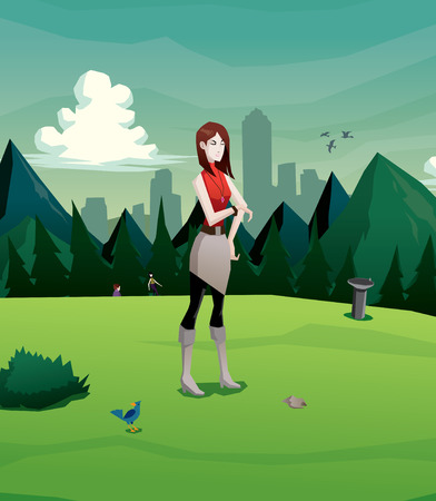 Illustration of woman waiting in the park vector
