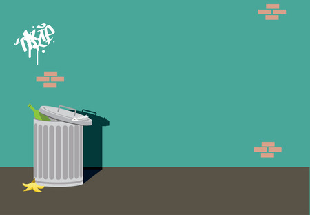 alley trash wall background cartoon  illustration vector