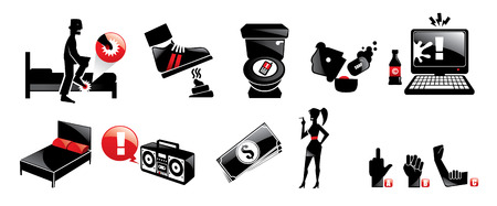 Illustration of various icons set of mosters and humans vector isolated illustration cartoon Vector
