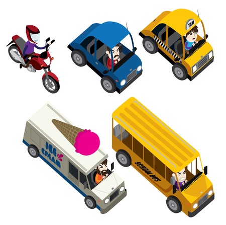 cars, motorcycles, buses and truck isometric set isolated illustration vector cartoon