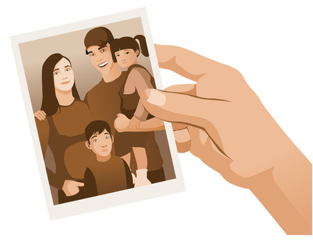 photo of family hold by hand isolated illustration vector Ilustração