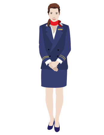 Charming Stewardess Dressed In Blue Uniform On White isolated illustration vector Vector
